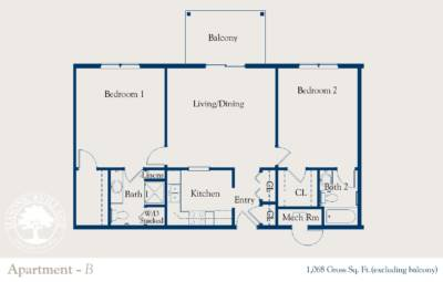 Masonic Village at Dallas, Apartment B Floorplan