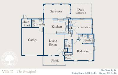Masonic Village at Dallas, Bradford Villa Floorplan