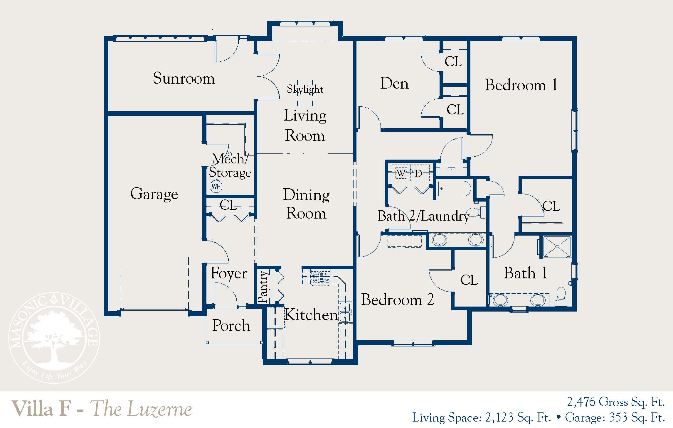 Masonic Village at Dallas, Luzerne Villa Floorplan