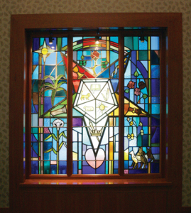 eastern star stained glass window