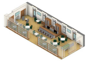 Rendering of the new tavernin Grand Lodge Hall.