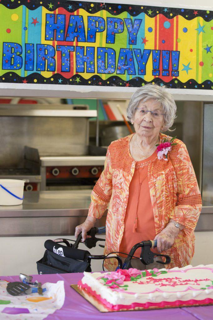 Helen Mathias celebrates her 100th birthday.