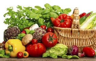 vegetables and herbs. shopping basket. healthy food