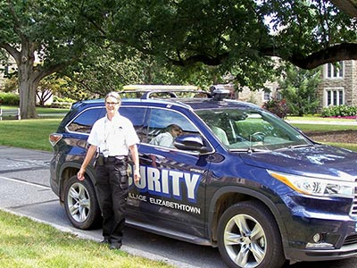 Valerie Gray with her security vehicle