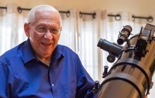 Masonic Village at Elizabethtown Astronomy Club founder Donald Altrichter with his telescope