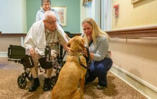 Nala and Bethann visit Frank Bubbenmoyer - pet therapy