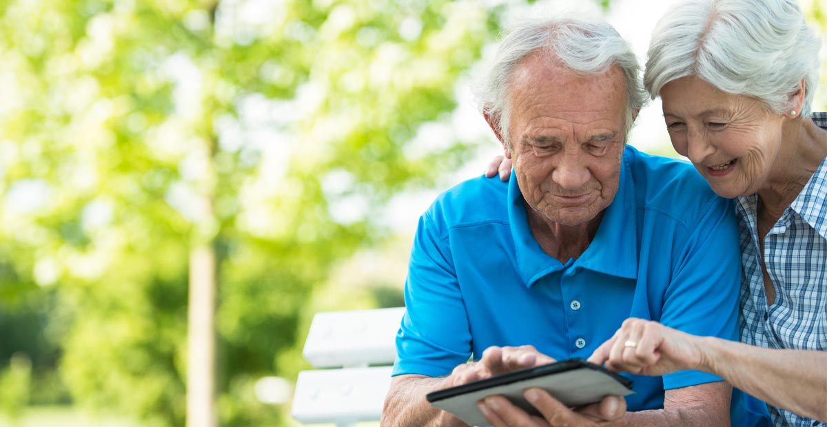 Older couple with tablet