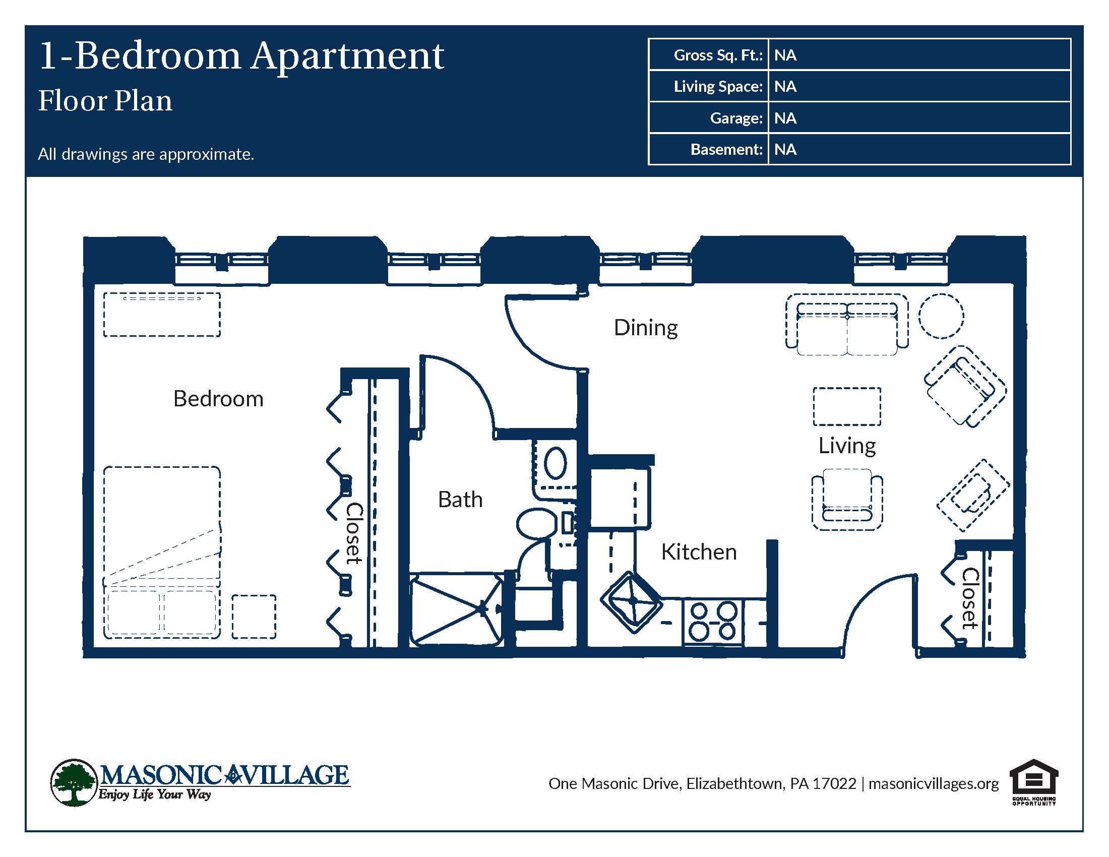Masonic Village at Elizabethtown - 1 Bedroom Apartment