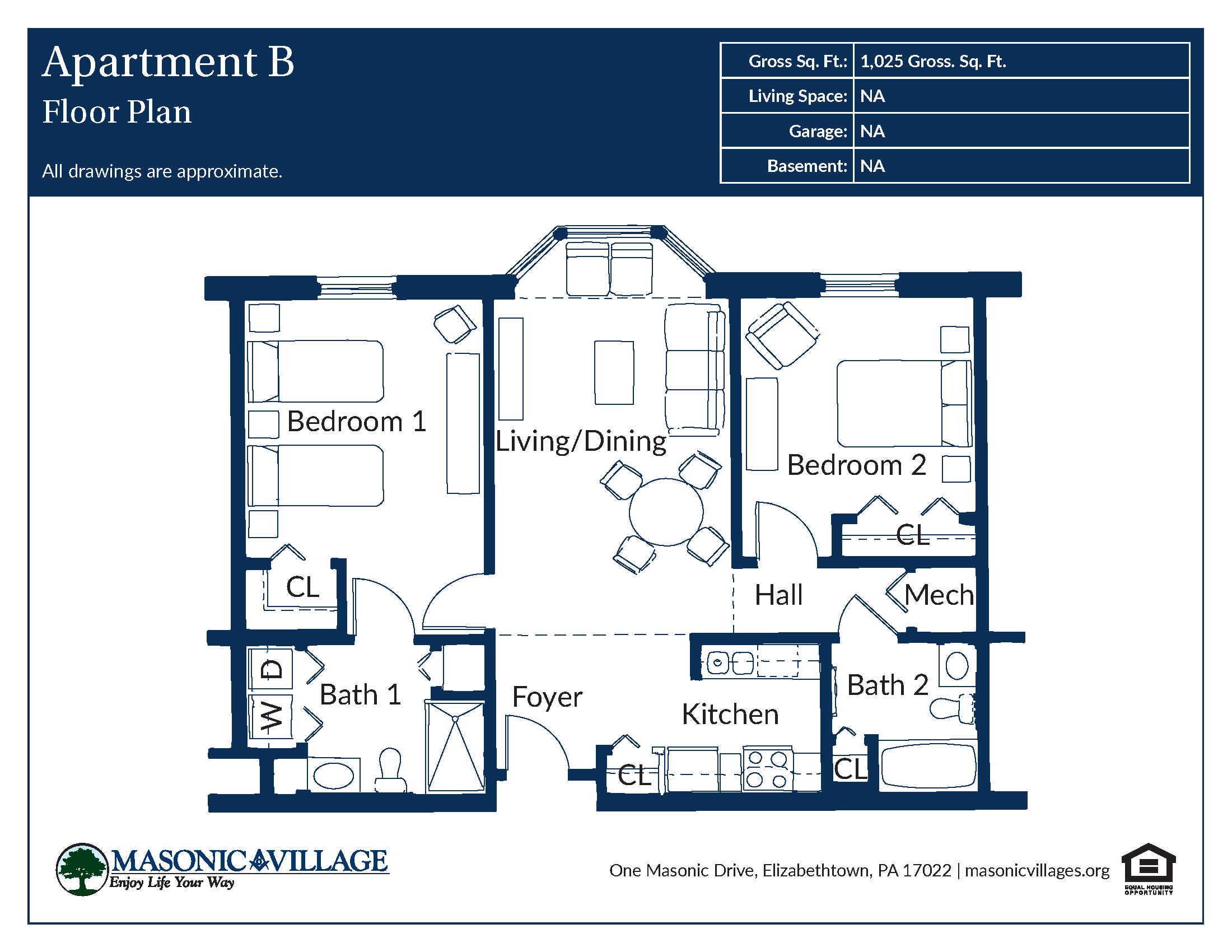 Masonic Village at Elizabethtown - Apartment B Floor Plan