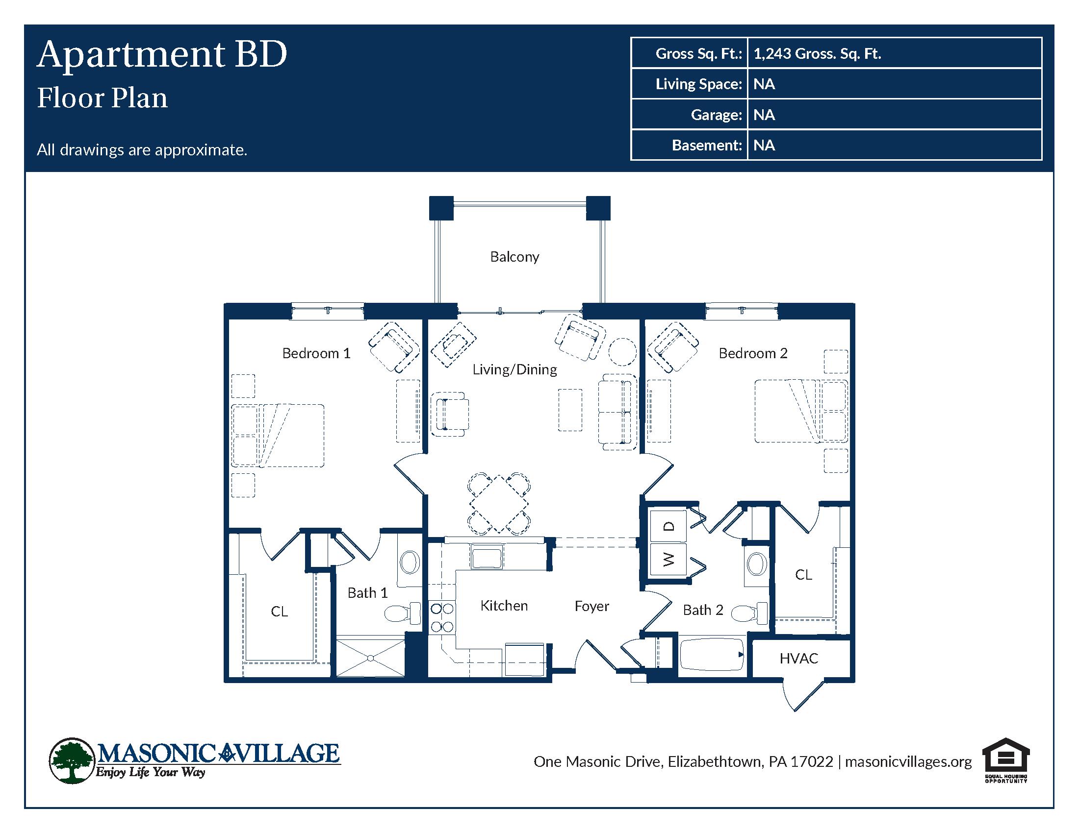 Masonic Village at Elizabethtown - Apartment BD Floor Plan