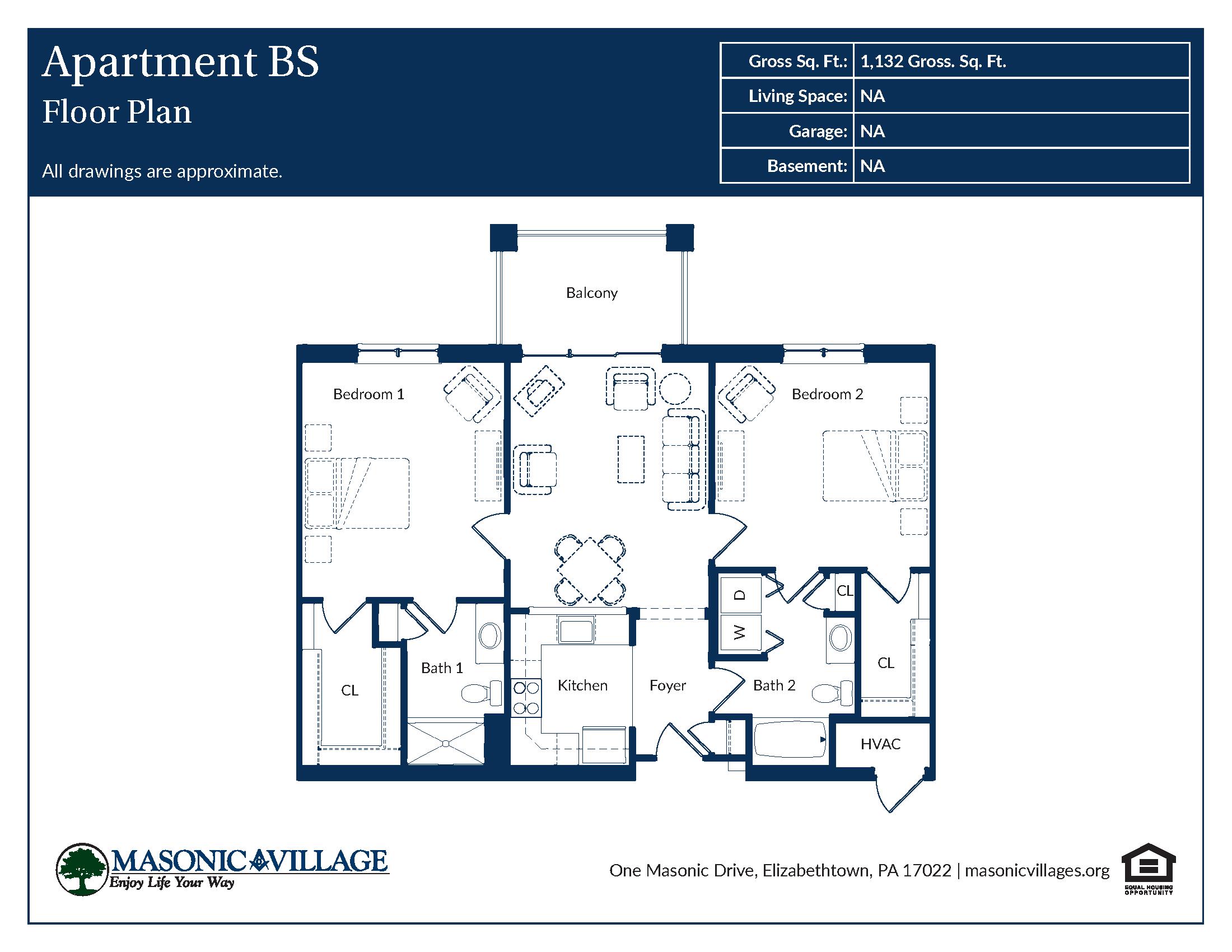 Masonic Village at Elizabethtown - Apartment BS Floor Plan