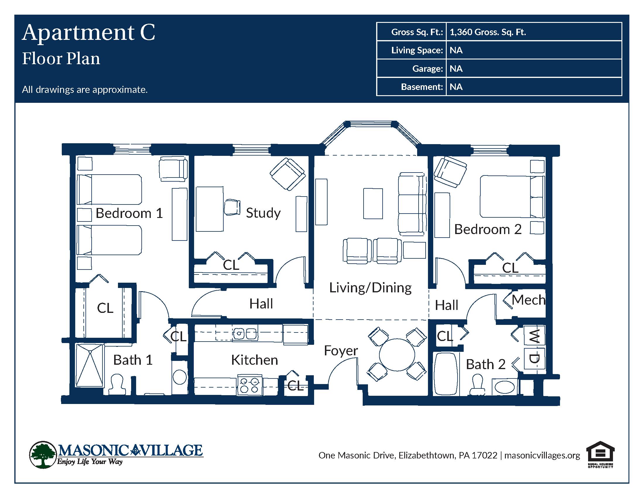 Masonic Village at Elizabethtown - Apartment C Floor Plan