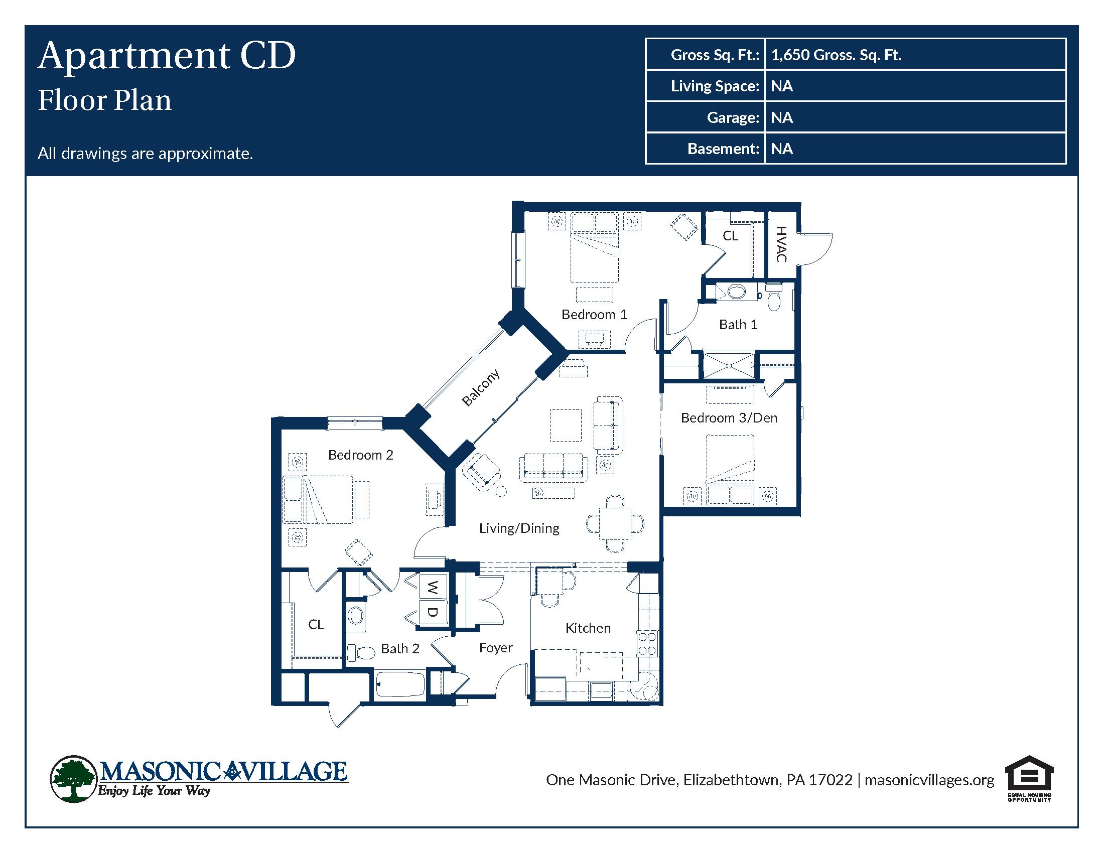 Masonic Village at Elizabethtown - Apartment CD Floor Plan