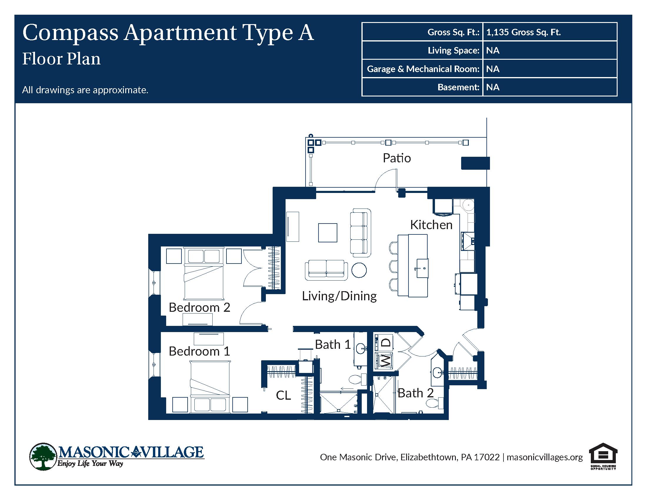Masonic Village at Elizabethtown - Compass Apartment A Floor Plan