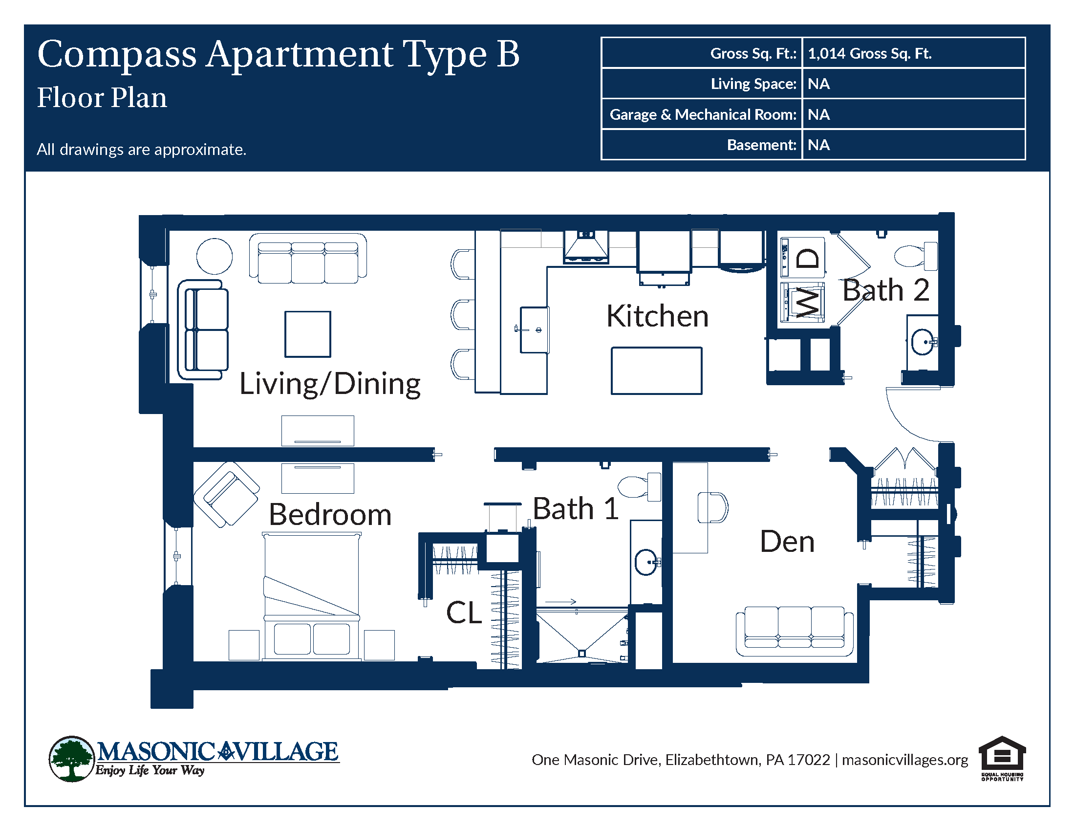 Masonic Village at Elizabethtown - Compass Apartment B Floor Plan