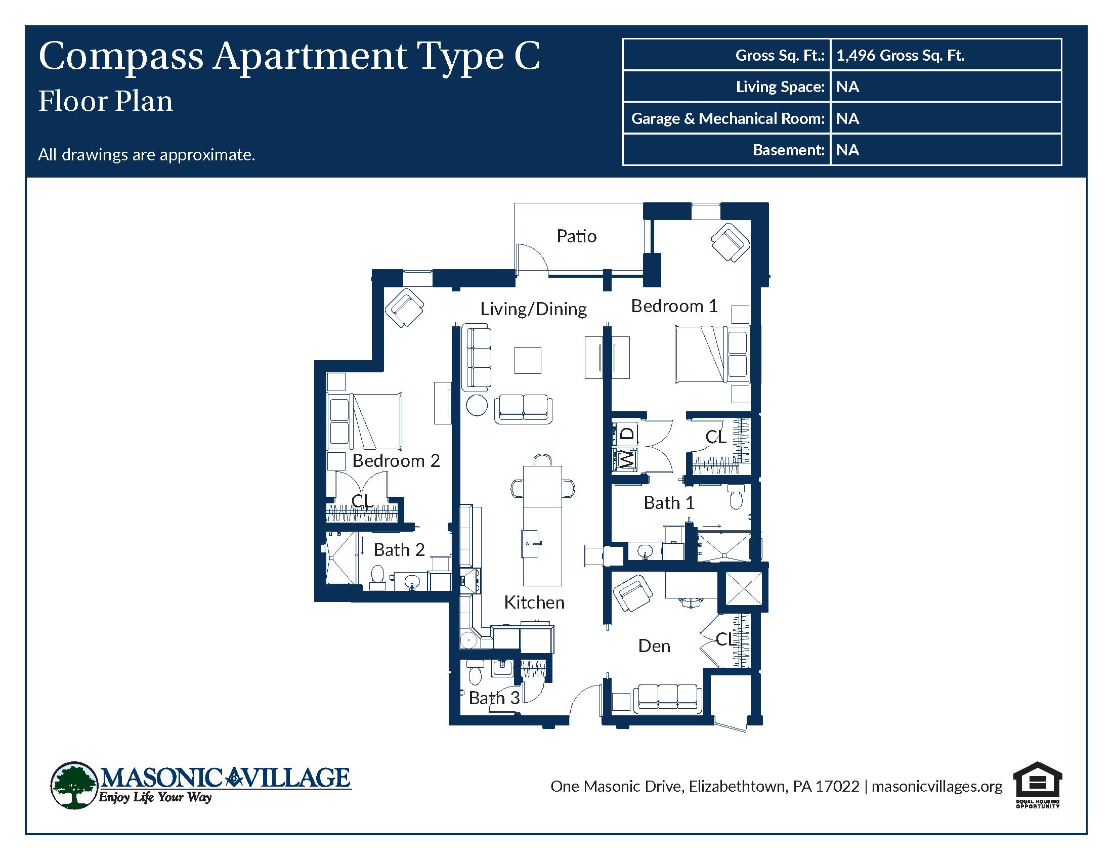 Masonic Village at Elizabethtown - Compass Apartment C Floor Plan