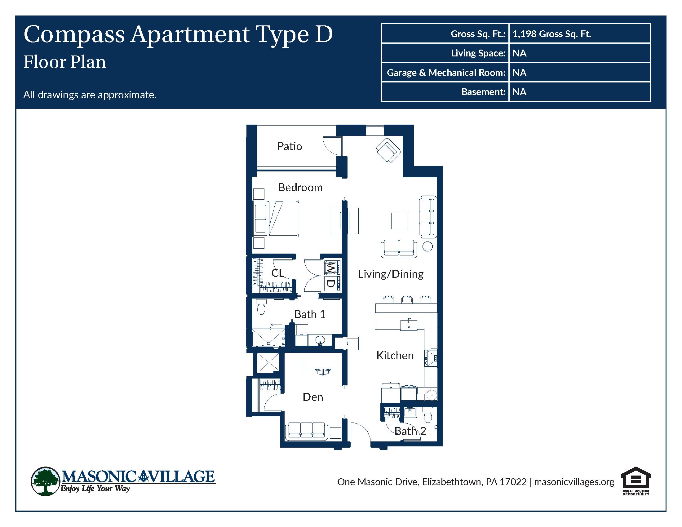 Masonic Village at Elizabethtown - Compass Apartment D Floor Plan
