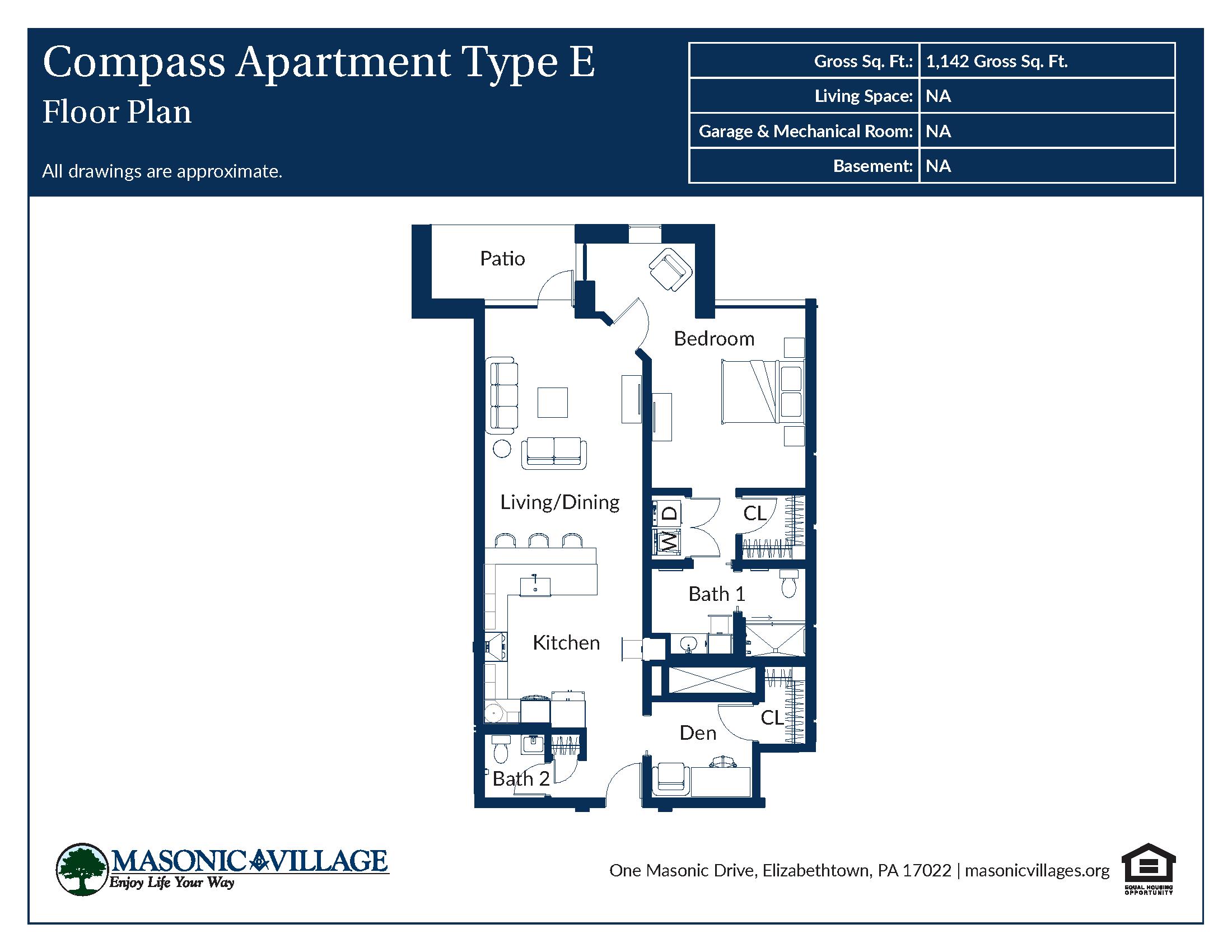 Masonic Village at Elizabethtown - Compass Apartment E Floor Plan