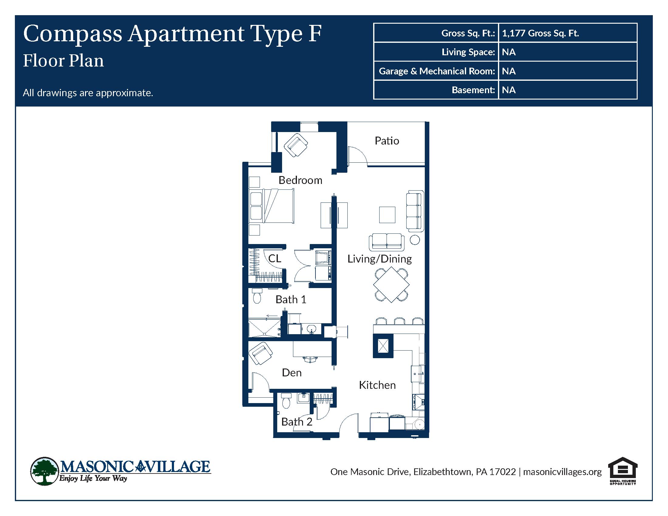 Masonic Village at Elizabethtown - Compass Apartment F Floor Plan