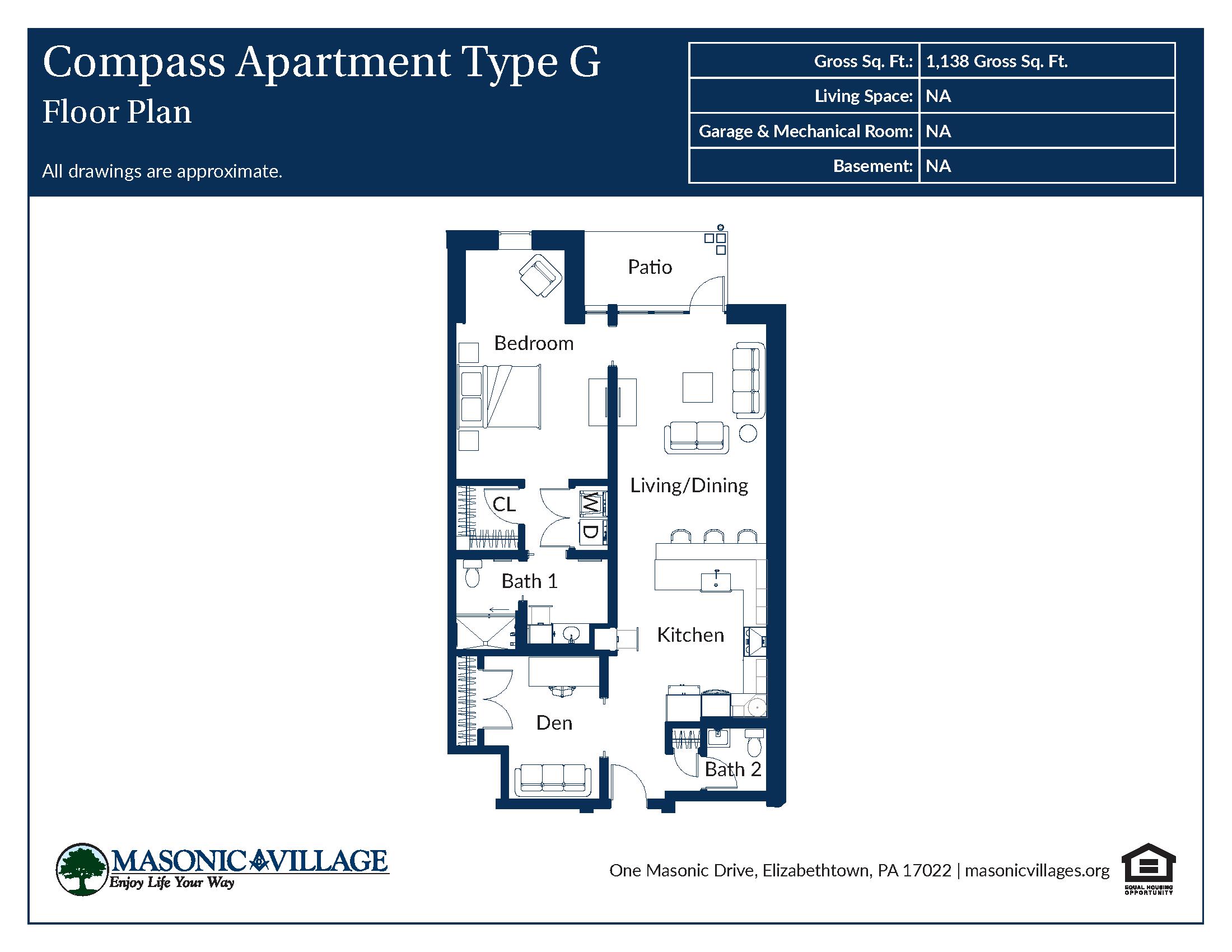 Masonic Village at Elizabethtown - Compass Apartment G Floor Plan