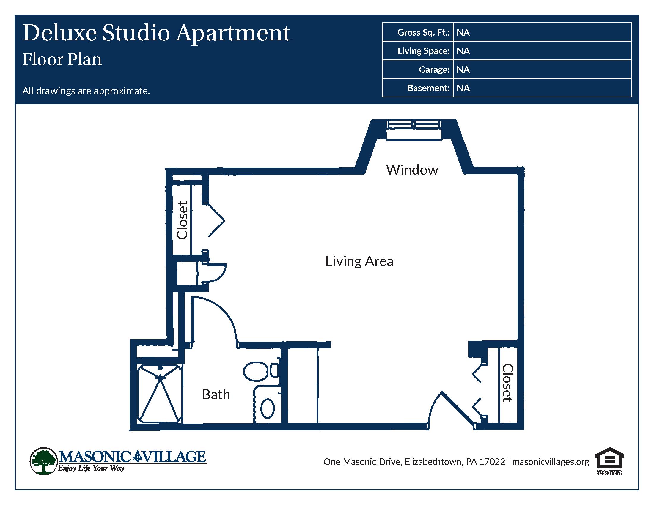 Masonic Village at Elizabethtown - Apartment Deluxe Studio Floor Plan