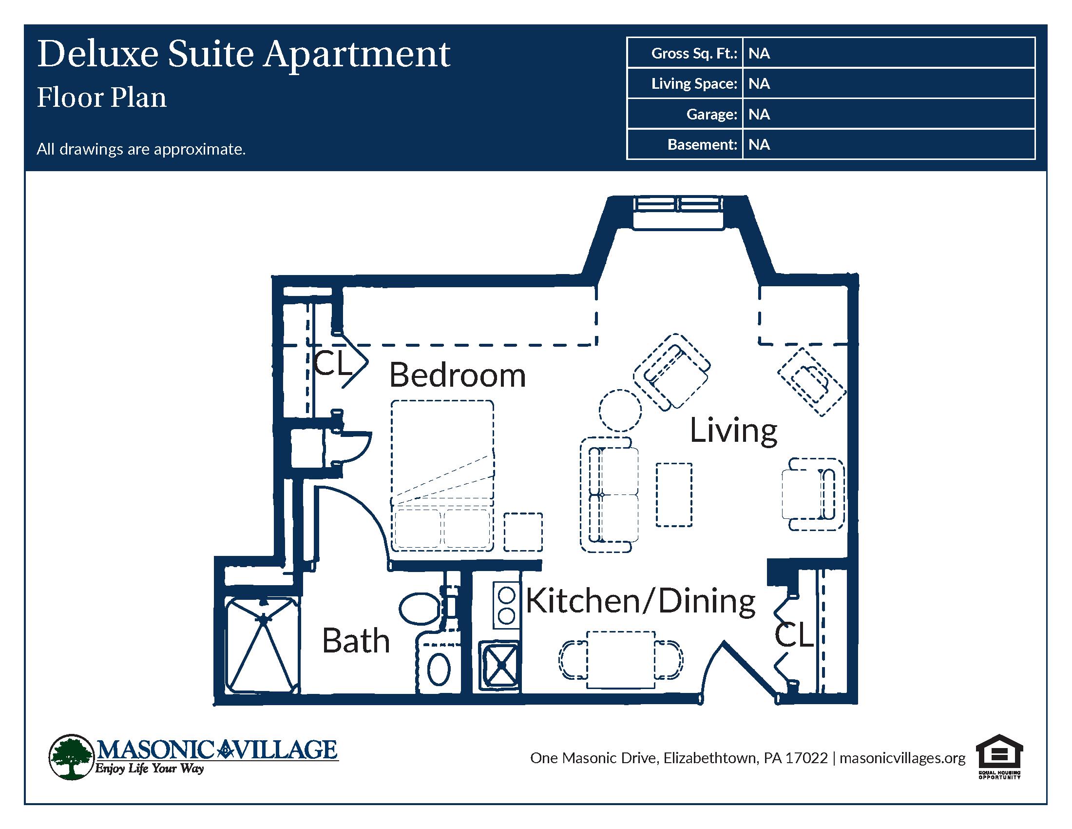 Masonic Village at Elizabethtown - Apartment Deluxe Suite Floor Plan